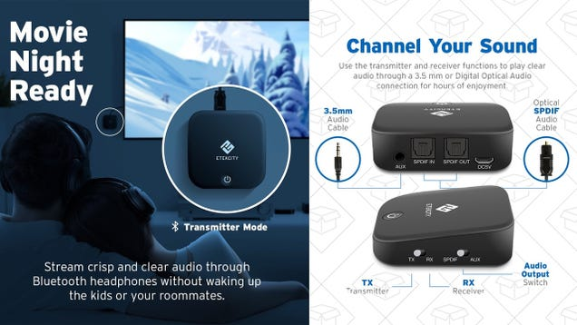 Save $20 On a Bluetooth Receiver and Transmitter With Optical Audio Ports