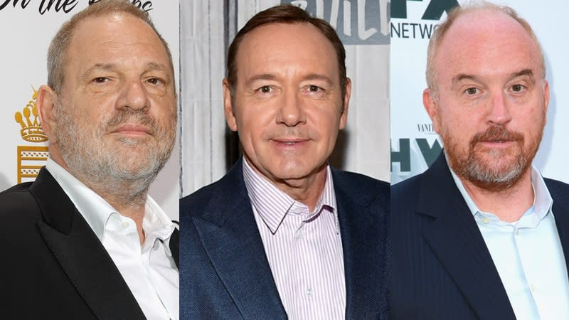 Harvey Weinstein (Andreas Rentz/Getty Images), Kevin Spacey (Rich Fury/Getty Images), and Louis CK (Dia Dipasupil/Getty Images)