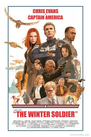 Illustration for article titled This '70s style Winter Soldier poster is AWESOME