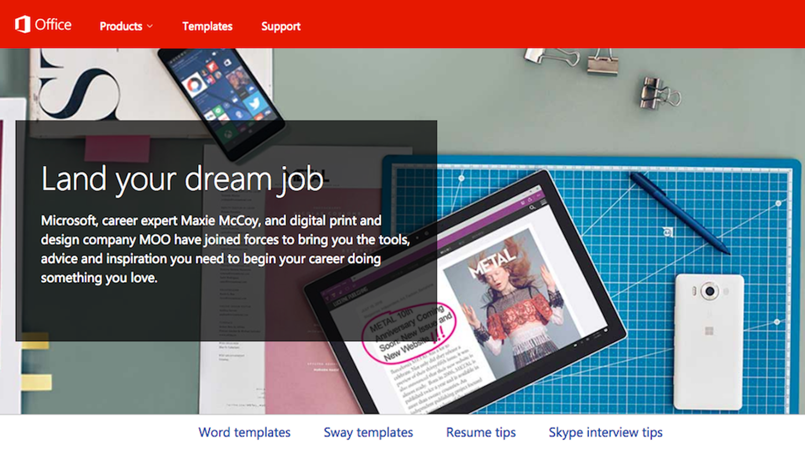 microsoft dream job helps you design resumes and
