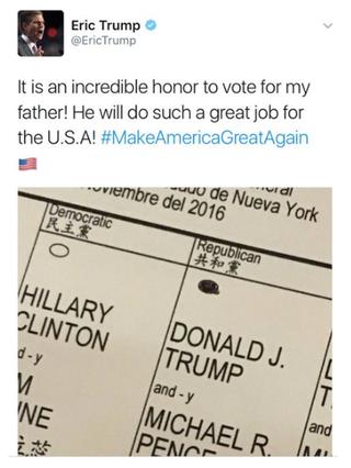 Eric Trump's ballot-selfie tweetTwitter