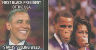 Earlier in 2014, the Belgian newspaper De Morgen ran an image depicting President Barack Obama and first lady Michelle Obama as apes.Twitter