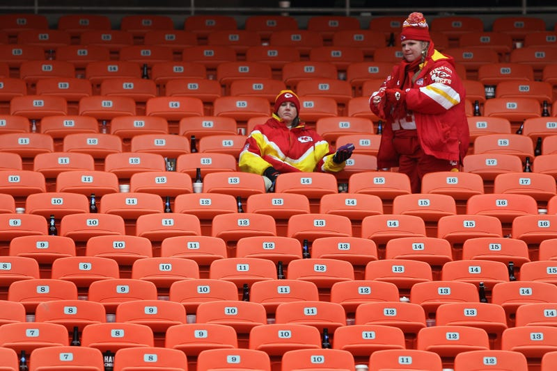 Fans of the Kansas City Chiefs sit in the stands after the Baltimore Ravens defeated the Chiefs 30-7 in the 2011 AFC wild-card playoff game at Arrowhead Stadium on Jan. 9, 2011, in Kansas City, Mo. (Doug Pensinger/Getty Images)