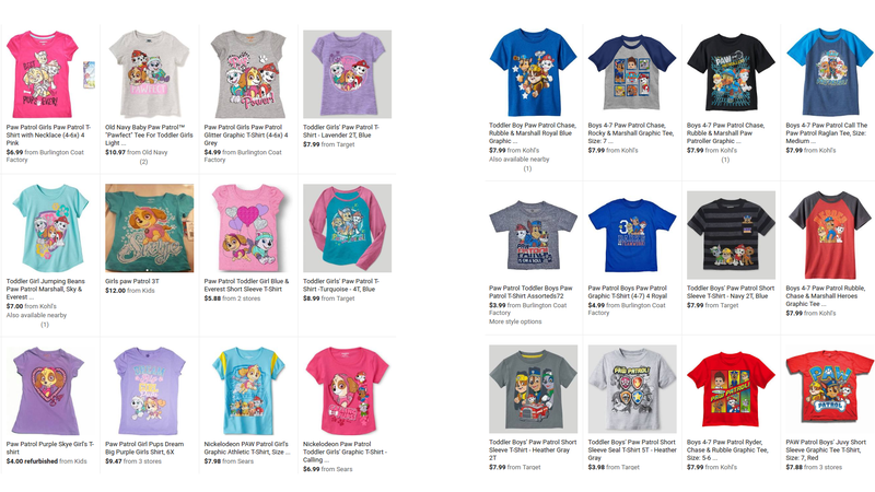 Left: Google results for girls' paw patrol shirts. Right: Google results for boys' Paw Patrol shirts.