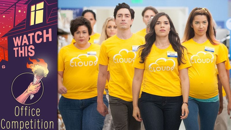"""Illustration for article titled Superstore turns a sales competition into clever character work with """"Color Wars"""""""