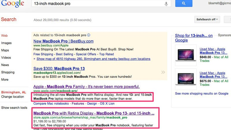 Illustration for article titled Retina Display 13-inch MacBook Pro Appears on Google Before Today's Apple Event