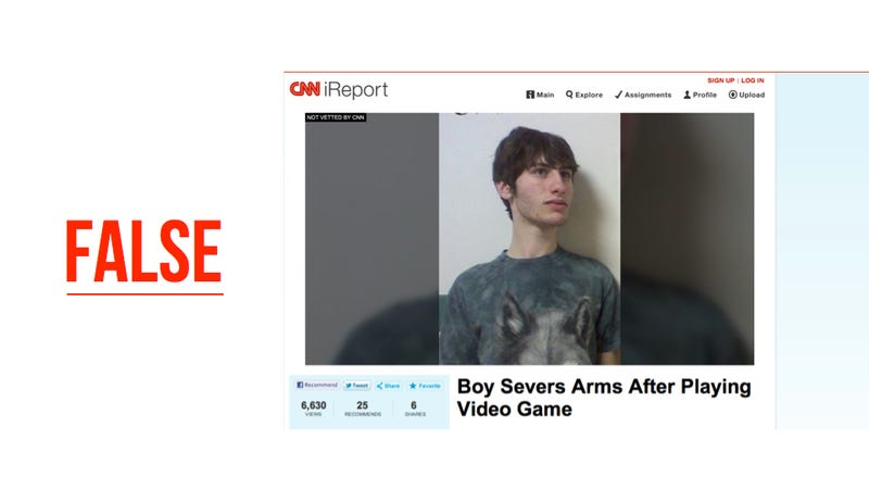 Illustration for article titled CNN Thought Gamer Chopped Off His Arm, Missed 'Joke'