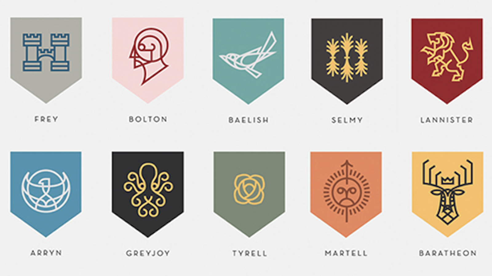 the game of thrones house sigils redesigned as corporate logos. Black Bedroom Furniture Sets. Home Design Ideas