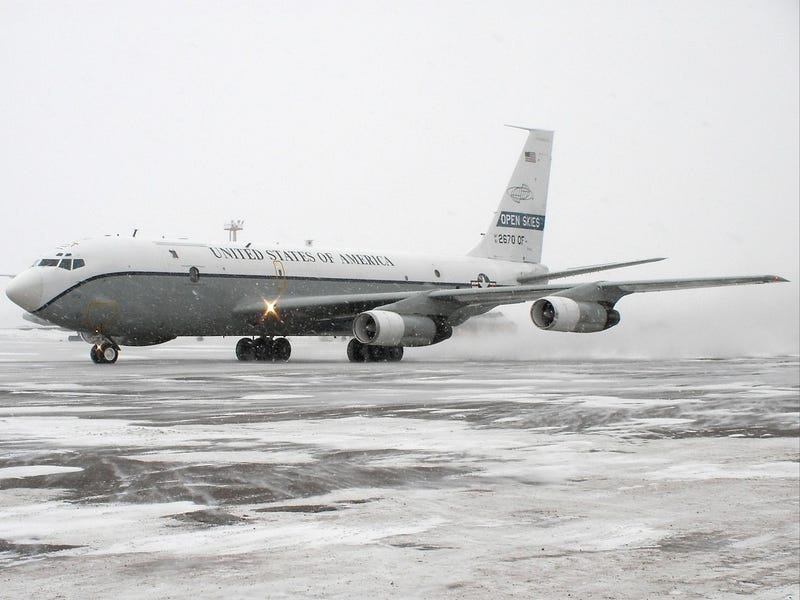 One of America's two OC-135B Open Skies aircraft prepares to depart the Russian airbase near  Khabarovsk-Novy for a surveillance flight. Wikipedia