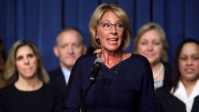 Education Secretary Betsy DeVos on her first day on the job at the Department Of Education on February 8 (Photo: Chip Somodevilla/Getty Images)