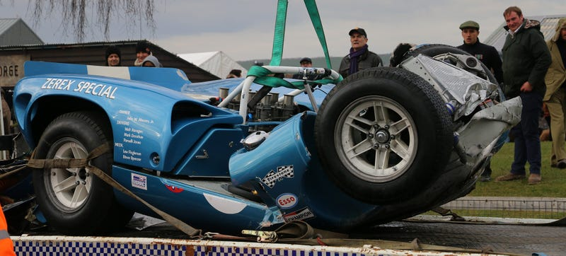 Michael Smits' 1965 Lola-Chevrolet T70 Spyder after the accident. Photo: Jalopnik