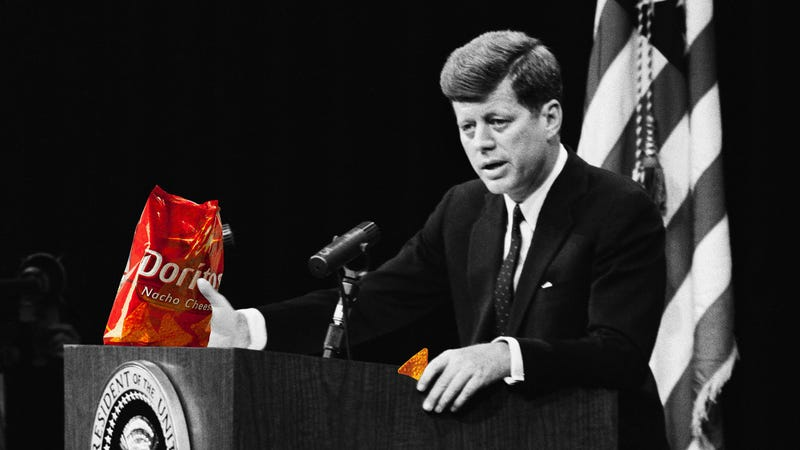 Illustration for article titled When You Can Make 'JFK' Say Anything, What's Stopping Him From Selling Doritos?