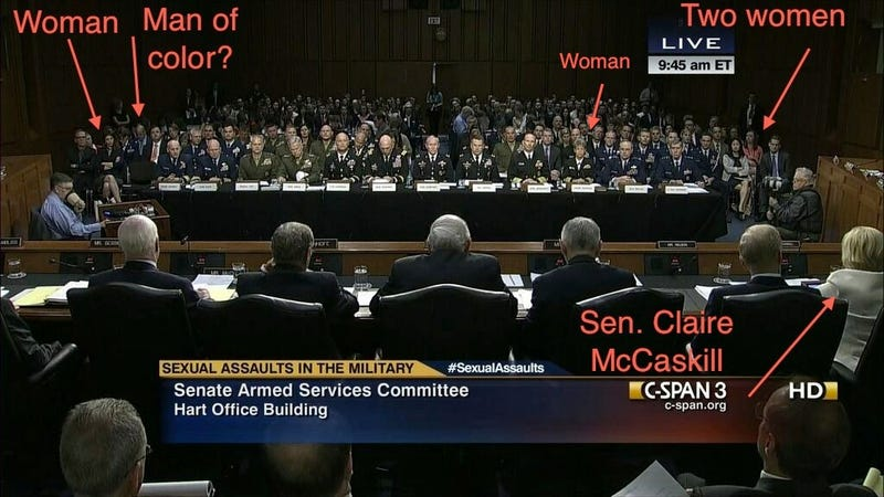 Illustration for article titled Room Full of White Male Politicians Discuss Military Sexual Assault