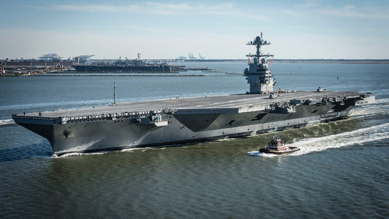 Pre-Commissioning Unit Gerald R. Ford heads out to sea for the first time under its own power for builder's trials. The future USS Gerald R. Ford is the first in a new class of American supercarriers. Photo credit: United States Department of Defense