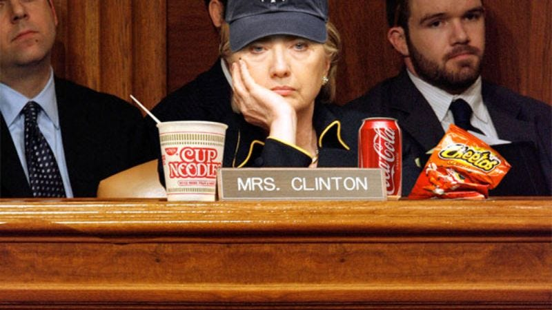 "Sen. Clinton scans the Senate floor, passing the time with a quick game of ""Fuck, Marry, Kill."""