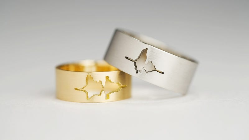 Illustration for article titled These waveform wedding rings are the geekiest thing you'll see today