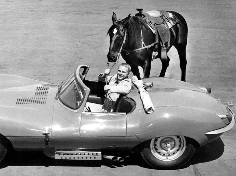 Illustration for article titled Steve McQueen, Off His Horse & Into the Jag