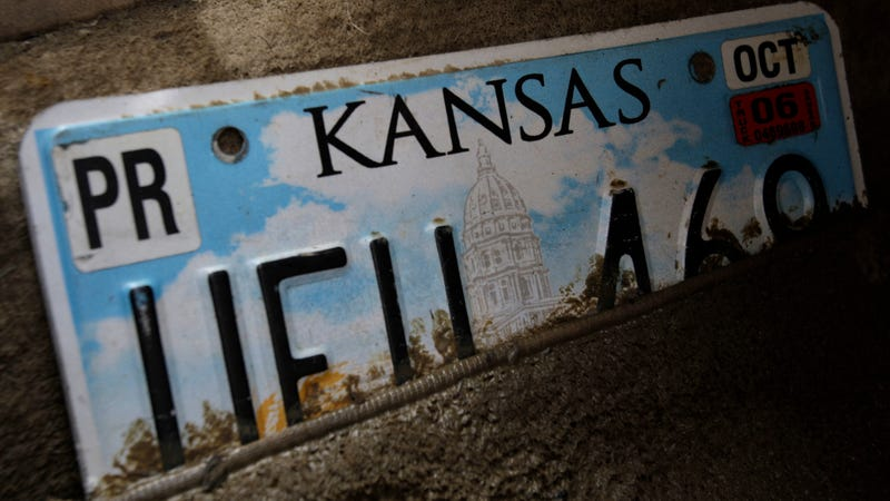 An old Kansas license plate, photographed in 2008.