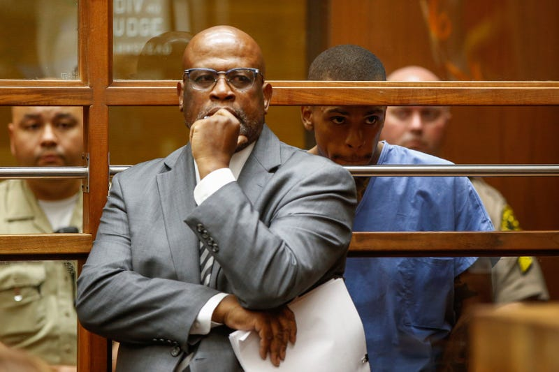 Chris Darden in court in Los Angeles April 4, 2019, for his client Eric Holder, accused killer of Nipsey Hussle