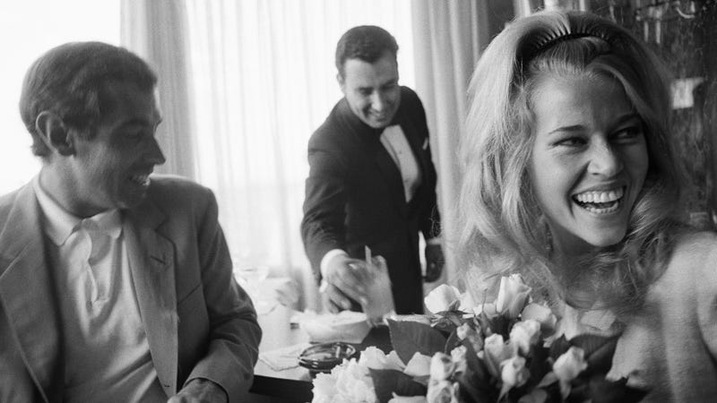 Roger Vadim and Jane Fonda at their wedding