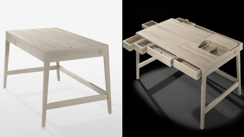 this sleek desk has all the drawers you'll ever need