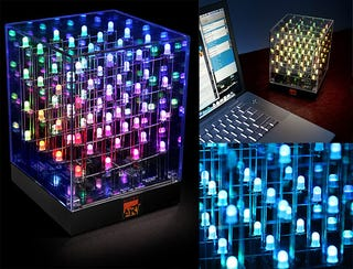 Illustration for article titled LED Cube Colorfully Assimilates Desktops