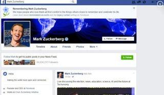Facebook founder Mark Zuckerberg's page declared him dead in so many words Nov. 11, 2016. Facebook Screenshot
