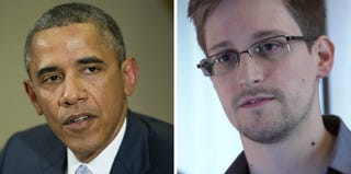 President Obama (Getty Images); Edward Snowden (handout/Getty Images)