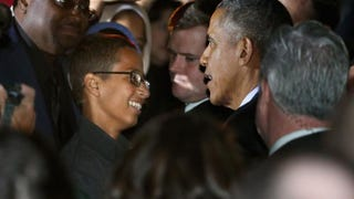 Ahmed Mohamed, 14, talks with President Barack Obama Oct. 19, 2015, in Washington, D.C., during the second Astronomy Night held on the South Lawn of the White House. Ahmed was invited to the White House for the science event after he was handcuffed and questioned by police in Irving, Texas, last month when he brought a homemade electronic clock to class at MacArthur High School and officials mistook it for a bomb.Chip Somodevilla/Getty Images