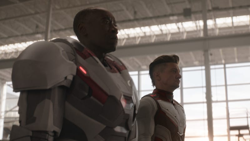 Hawkeye (Jeremy Renner) and War Machine (Don Cheadle) suit up.