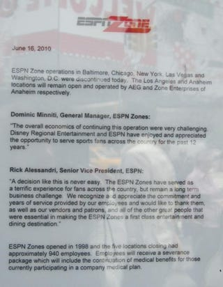 Illustration for article titled Sad Letter Closes The Door On ESPN Zone