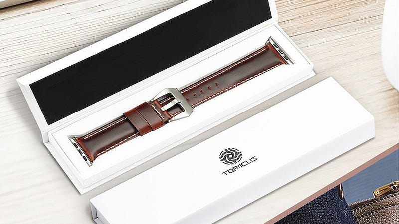 top4cus Compatible with Apple Watch Genuine Leather Strap (38mm or 42mm) | $6 | Amazon | Promo code TVPAI3IC
