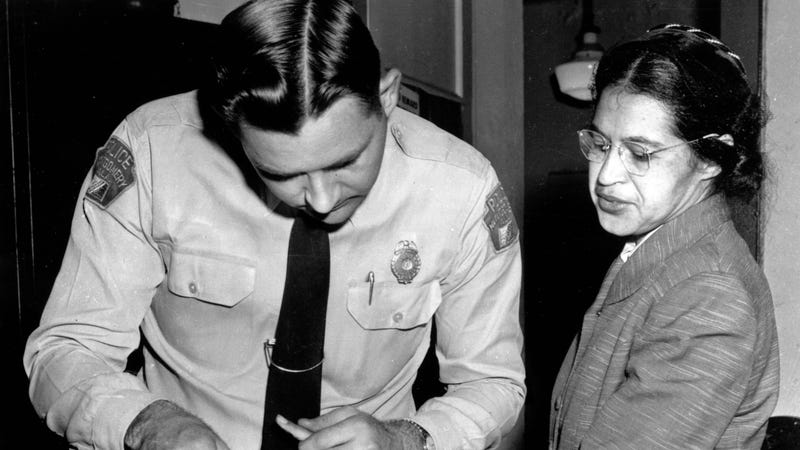 Rosa Parks fingerprinted by police in 1955, two months after she refused to give up her bus  seat for a white passenger / Image via AP