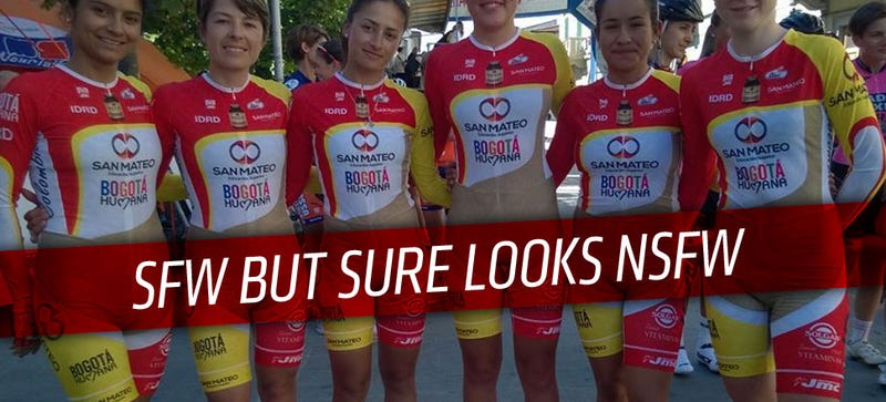 Illustration for article titled This Colombian Women's Cycling Team Uniform Looks Pretty, Um, Naked