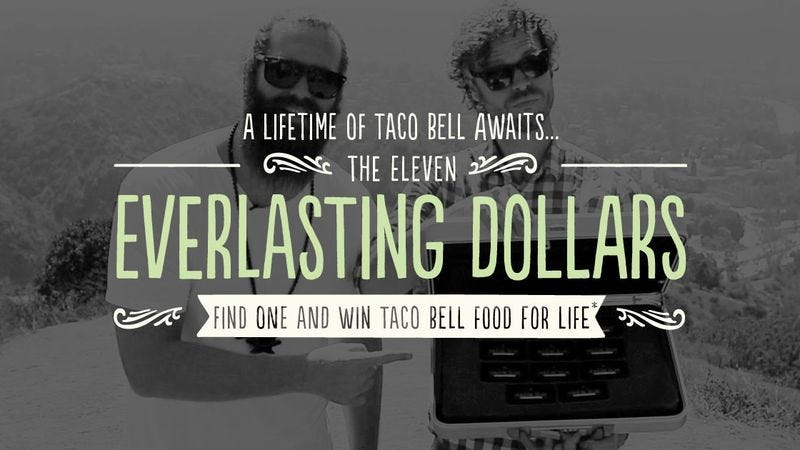 """Illustration for article titled Taco Bell's latest taco chicanery involves a """"lifetime"""" of free food"""