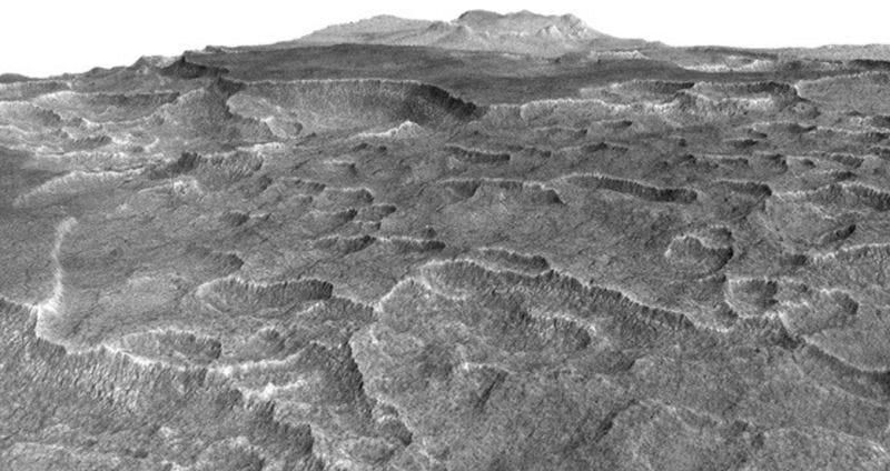 Imagen tridimensional de la región de Utopia Planitia. Foto: NASA/JPL-Caltech/Univ. of Arizona