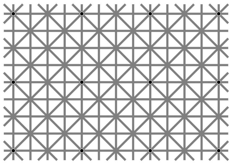 Illustration for article titled Can You See All 12 Black Dots At Once?