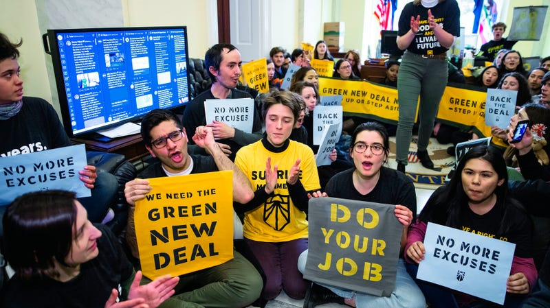 Protesters with the Sunrise Movement occupy incoming Democrat majority leader Rep. Steny Hoyer's office, calling for a select committee for a Green New Deal.