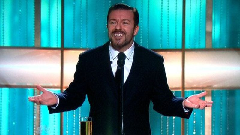 Illustration for article titled Yes, Ricky Gervais will host the Golden Globes again