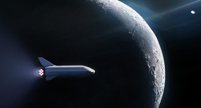 Artist's depiction of the BFR spacecraft encircling the Moon.