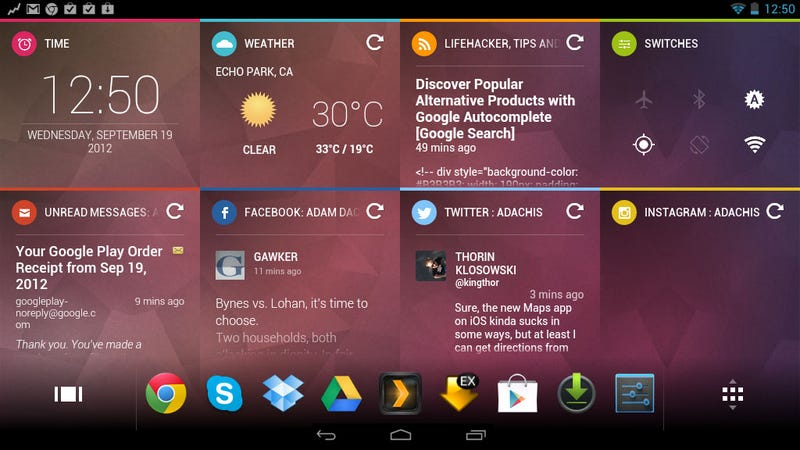 Illustration for article titled Chameleon Launcher Provides a Window into Your Life on Your Android Tablet