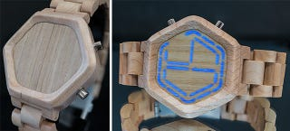 Illustration for article titled Hidden LEDs Give This Wood-Faced Watch a Digital Display