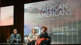 2014 Peabody winner Henry Louis Gates Jr., journalist Charlayne Hunter-Gault and civil rights icon Ruby Bridges speak onstage during The African Americans: Many Rivers to Cross With Henry Louis Gates Jr.panel discussion at the Beverly Hilton Hotel Aug. 7, 2013, in Beverly Hills, Calif.Frederick M. Brown/Getty Images