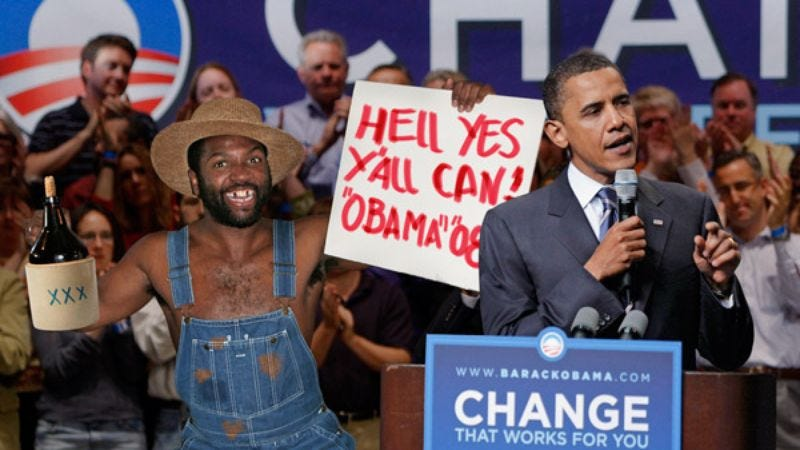 "Cooter Obama welcomes his brother's supporters with a jug of ""white lightning"" before whipping up a steaming vat of flat-possum stew."