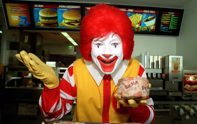 """Would you?"" —Ronald McDonald (Photo: Nick Laham/ALLSPORT via Getty Images)"