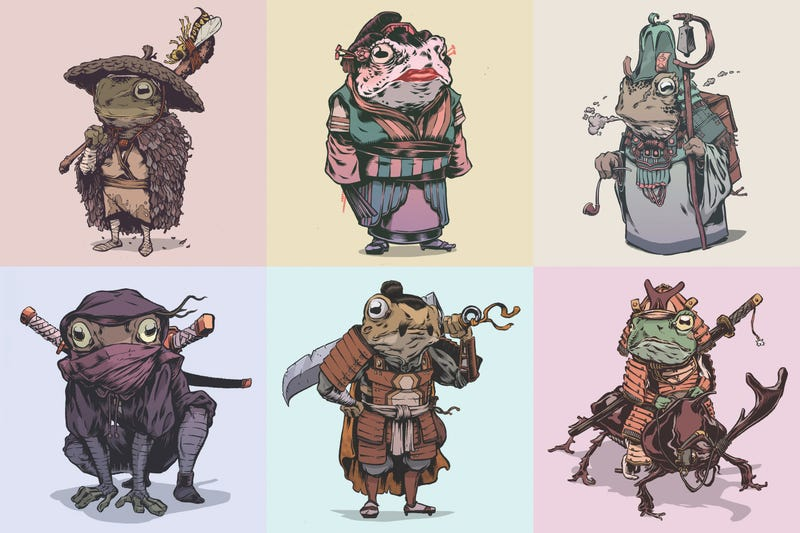 Character Design Book Artist : We want to read a comic book about these amazing samurai frogs