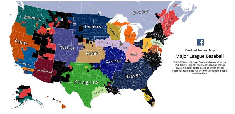 Illustration for article titled Here's Facebook's 2015 MLB Fandom Map