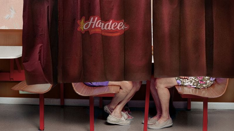 Illustration for article titled Hardee's Introduces Shame Curtains For Customers To Eat Behind