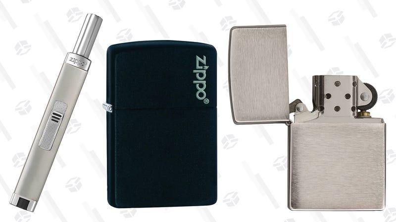 Zippo Brushed Chrome Pocket Lighter | $8 | AmazonZippo Logo Black Matte Pocket Lighter | $10 | Amazon | After 20% off couponZippo Unfilled Mini Brushed Chrome Candle Lighter | $10 | Amazon