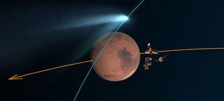 Illustration for article titled Sigue en directo el paso histórico del cometa Siding Spring por Marte